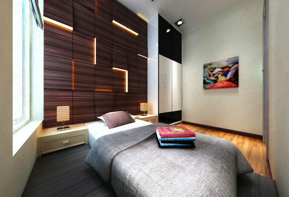 Bedhead with stripe line LED design with selected woodgrain