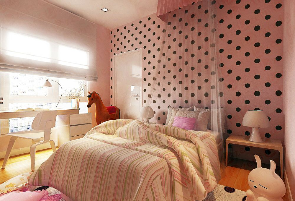 Fun pink kids room with an eye catching wall feature with geometric dots