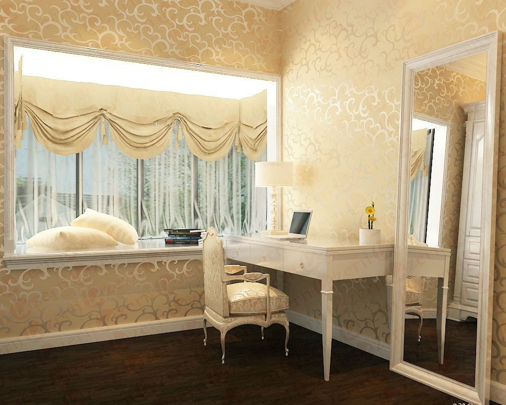 Dressing table corner with full height stand alone mirror