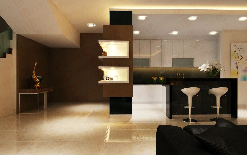 Open concept kitchen with breakfast bar counter