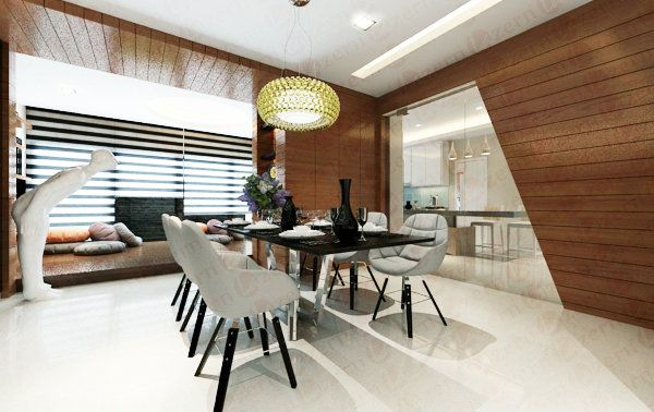 Dining Area with a design transparent tempered glass door to Kitchen area