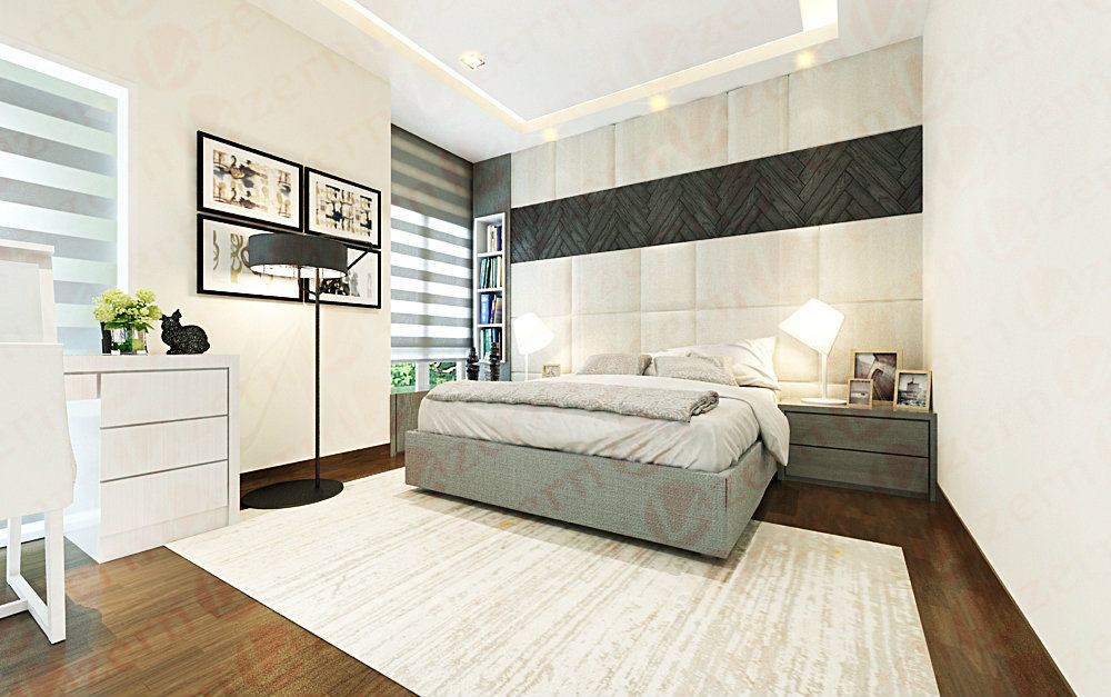Love the neutral colors of white, wood, black in this bedroom