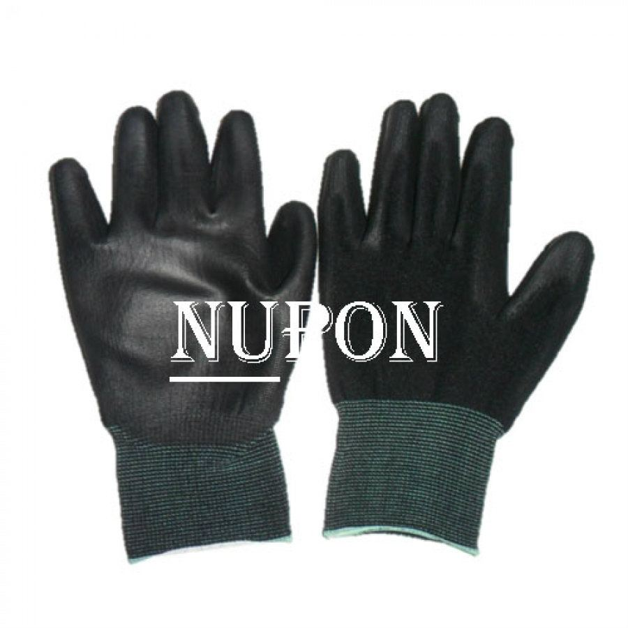 ESD Black Knitted PU Palm Coated Gloves