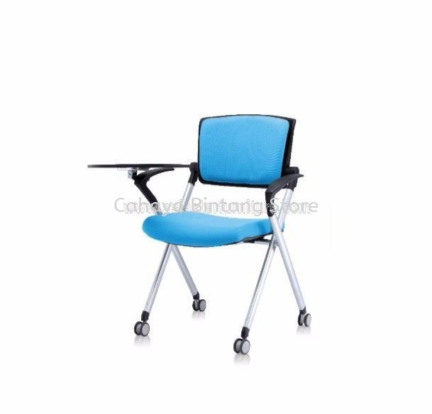 AEXIS FOLDING PADDING CHAIR C/W CASTOR, ARMREST & WRITING TABLET ACL 447