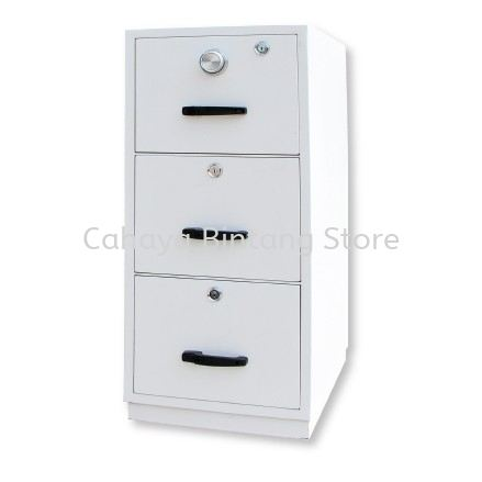 FIRE RESISTANT 3 DRAWER FILING CABINET (INDIVIDUAL LOCKING) SAND BEIGE COLOR SIDE VIEW