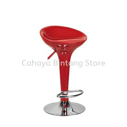 HIGH BARSTOOL CHAIR C/W ROUND CHROME METAL BASE ST21