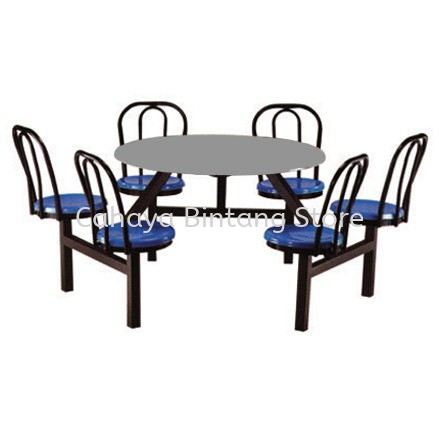6 SEATER ROUND FIBREGLASS TABLE WITH BACKREST