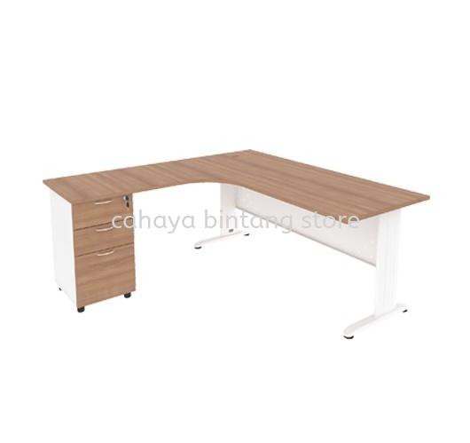 L-SHAPE TABLE METAL J-LEG C/W STEEL MODESTY PANEL & FIXED PEDESTAL 4D MJMD-8756 (L)