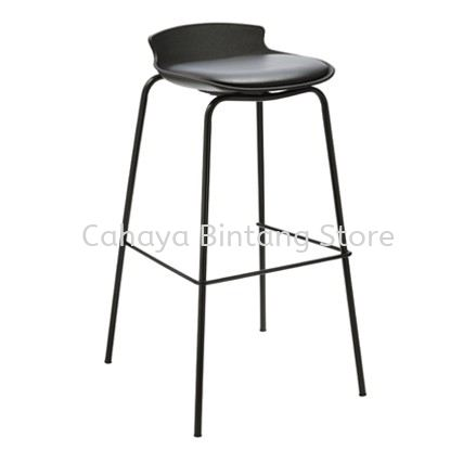 HIGH BARSTOOL CHAIR C/W 4 LEGGED EPOXY BLACK METAL BASE ST24-F