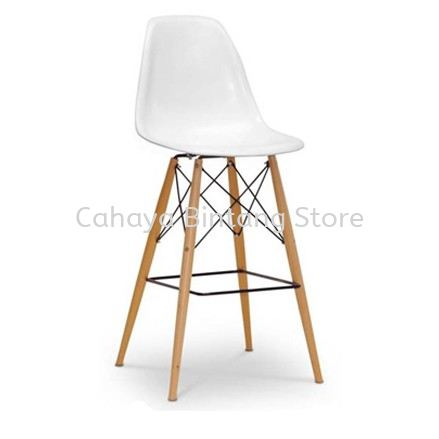 HIGH BARSTOOL CHAIR C/W BACKREST C/W WOODEN BASE ST27-F