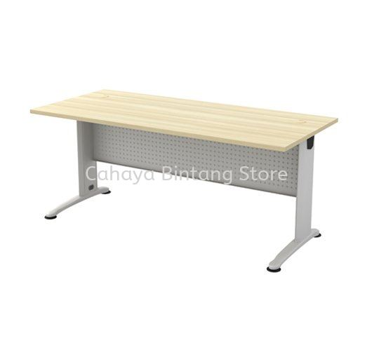 RECTANGULAR WRITING TABLE METAL J-LEG C/W METAL MODESTY PANEL BT 128