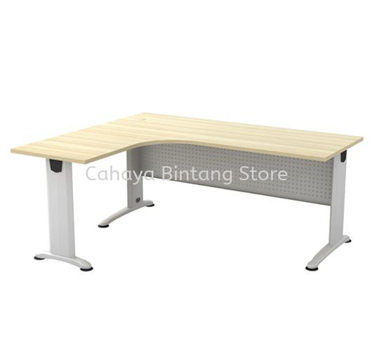 L-SHAPE TABLE C/W METAL MODESTY PANEL BL 1515