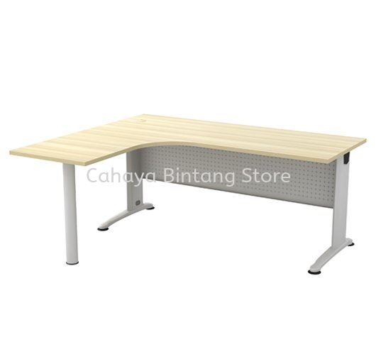 L-SHAPE TABLE C/W METAL MODESTY PANEL & METAL POLE LEG BL 1515-M