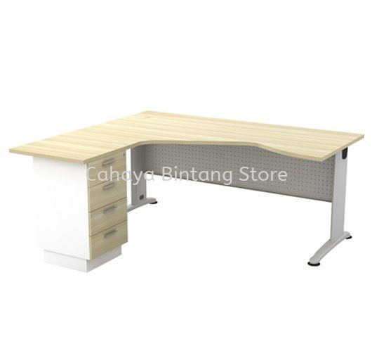 L-SHAPE PENTAGON TABLE C/W METAL MODESTY PANEL & FIXED PEDESTAL 4D BL 44-4D