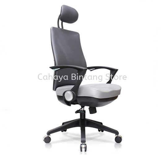 AMPLO EXECUTIVE HIGH BACK FABRIC CHAIR C/W NYLON ROCKET BASE ACL 499(B)