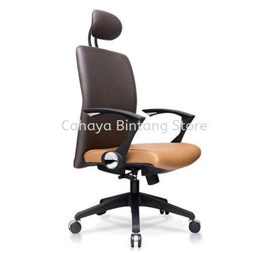 AMPLO EXECUTIVE MEDIUM BACK LEATHER CHAIR C/W NYLON ROCKET BASE ACL 477(B)