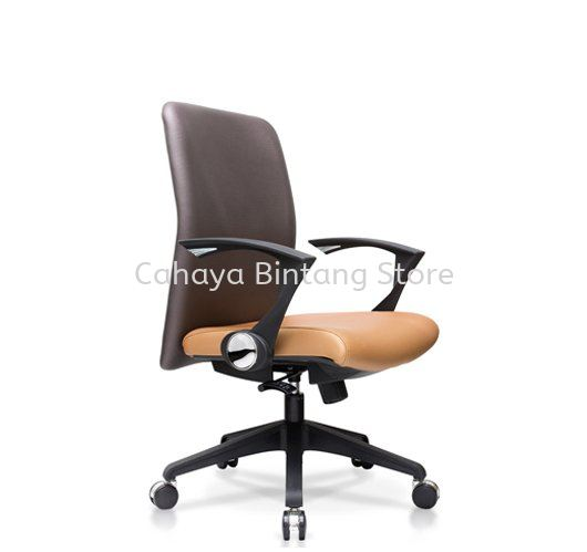 AMPLO EXECUTIVE MEDIUM BACK LEATHER CHAIR C/W NYLON ROCKET BASE ACL 466(B)