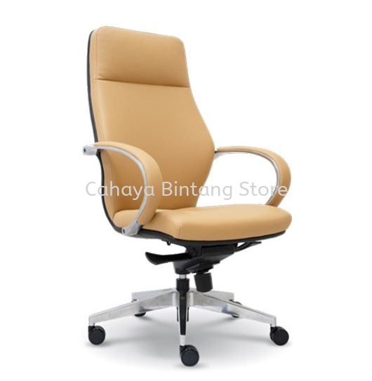 BUSSELTON DIRECTOR HIGH BACK LEATHER CHAIR C/W ALUMINIUM ROCKET DIE-CAST BASE