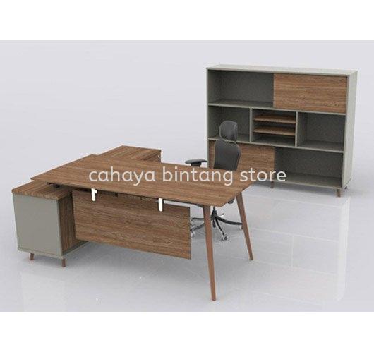 VISTA EXECUTIVE OFFICE TABLE WOODEN LEG C/W CABINET SET