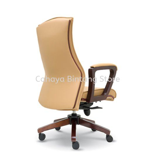 AMITY DIRECTOR MEDIUM LEATHER BACK CHAIR WITH WOODEN TRIMMING LINE ASE 2362