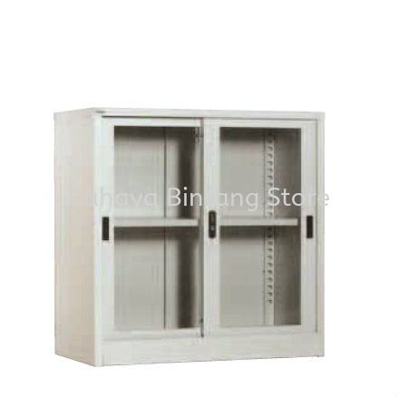 A110 HALF HIGH GLASS SLIDING DOOR CUPBOARD