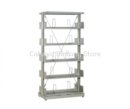 STEEL LIBRARY SHELVING DOUBLE SIDED WITHT SIDE PANEL ANOUD 5 SHELVING -  Library Shelving Selayang | Library Shelving Batu Caves | Library Shelving Gombak