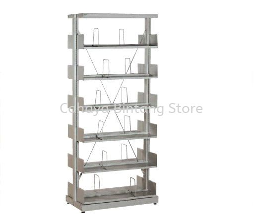 STEEL LIBRARY SHELVING DOUBLE SIDED WITHT SIDE PANEL ANOUD 6 SHELVING - Library Shelving Taman Melawati | Library Shelving Wangsa Maju | Library Shelving Setapak