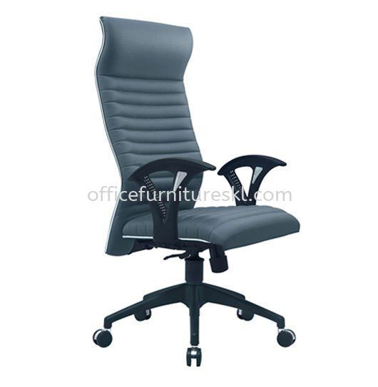 ZINGER 3 EXECUTIVE HIGH BACK LEATHER CHAIR WITH CHROME TRIMMING LINE
