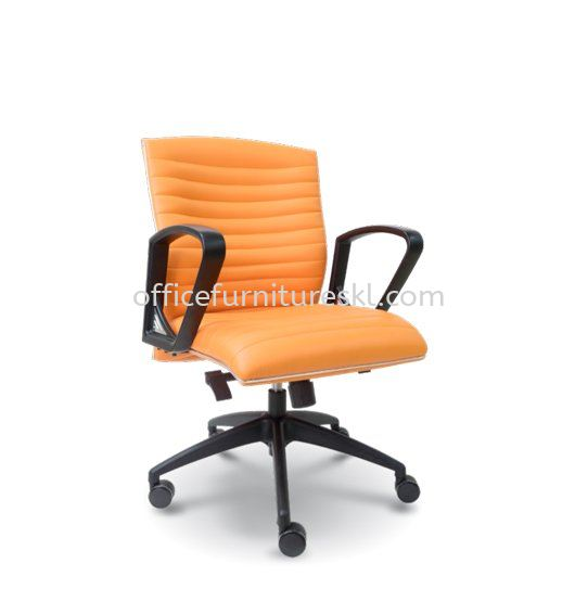 JOME LOW BACK LEATHER CHAIR WITH CHROME TRIMMING LINE