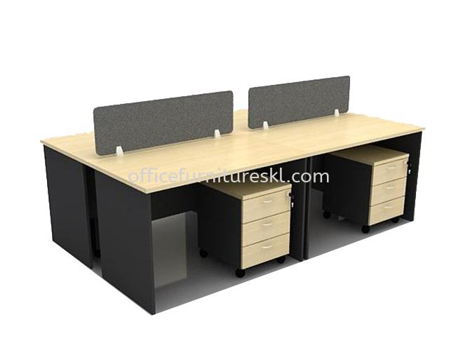 OPEN CONCEPT 4 CLUSTER WORKSTATION C/W FIBER SCREEN DESKING PANEL