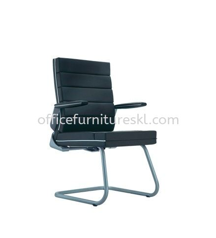 TREND EXECUTIVE VISITOR LEATHER ARM CHAIR WITH CHROME TRIMMING LINE ACL 5044