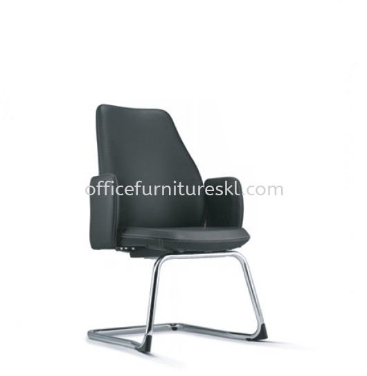 EVE DIRECTOR VISITOR LEATHER OFFICE CHAIR WITH CHROME CANTILEVER BASE AND FIXED ARMREST