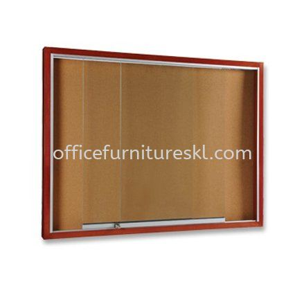 SLIDING GLASS OFFICE NOTICE BOARD WOODEN FRAME BROWN COLOUR - office furniture shop | notice board cheras | notice board ampang | notice board sungai besi