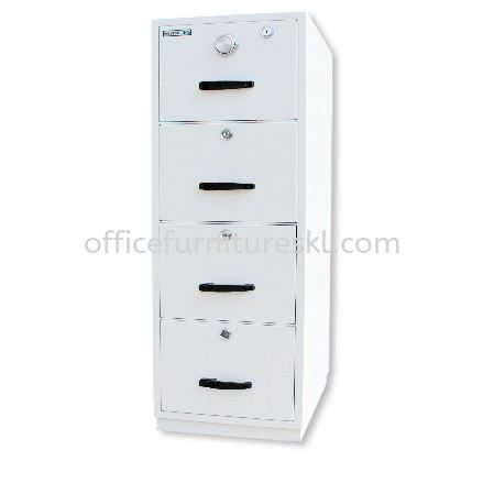 FIRE RESISTANT CABINET 4 DRAWER SAND BEIGE COLOR SIDE VIEW