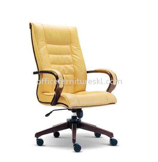 SAB DIRECTOR HIGH BACK LEATHER CHAIR WITH WOODEN TRIMMING LINE