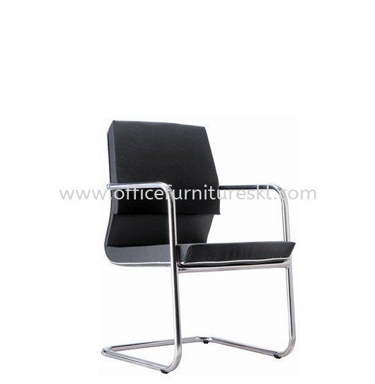 NIDOZ EXECUTIVE VISITOR LEATHER CHAIR WITH CHROME TRIMMING LINE