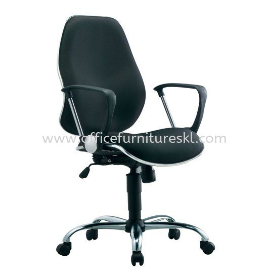 RIXIS SECRETARIAL MEDIUM BACK FABRIC CHAIR WITH CHROME TRIMMING LINE