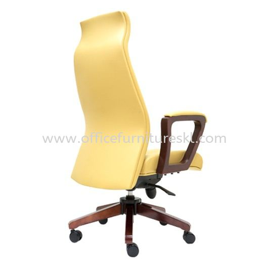 AMBER DIRECTOR HIGH BACK LEATHER OFFICE CHAIR C/W RUBBER-WOOD WOODEN ROCKET BASE