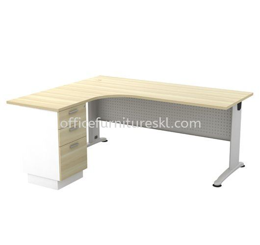 BERLIN WRITING OFFICE TABLE/DESK L-SHAPE & FIXED PEDESTAL 3D ABL 1515-3D - Top 10 Best Recommended Writing Office Table | Writing Office Table Port Klang | Writing Office Table Rawang | Writing Office Table Imbi