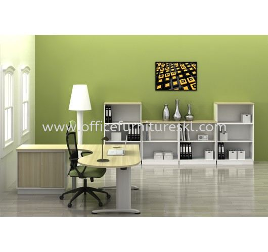 BERLIN EXECUTIVE OFFICE TABLE/DESK L-SHAPE ROUND END C/W SIDE CABINET ABMB 66-M FULL SET - Top 10 Best Design Executive Office Table | Executive Office Table Taman Wawasan | Executive Office Table IOI City Mall | Executive Office Table Serdang