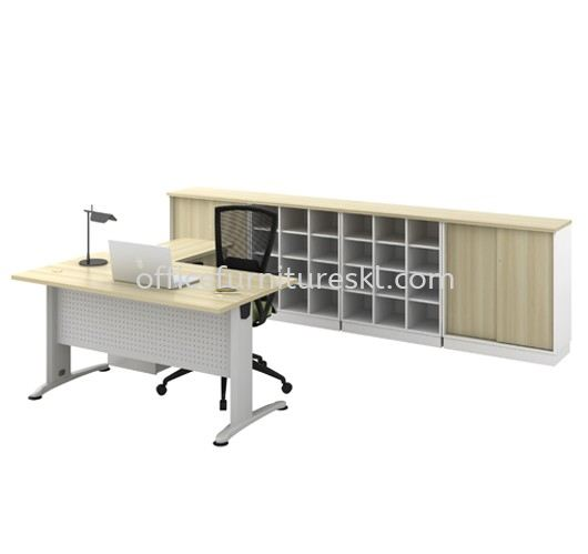 RECTANGULAR TABLE METAL J-LEG C/W STEEL MODESTY PANEL WITH SIDE CABINET & LOW CABINET BT 158-FULL SET