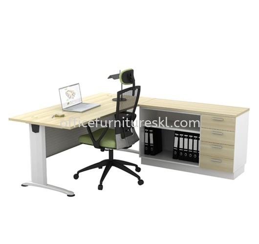RECTANGULAR TABLE METAL J-LEG C/W STEEL MODESTY PANEL & SIDE CABINET BT 188 + B YOP 7124