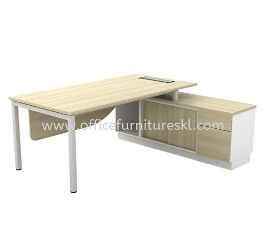 DIRECTOR TABLE METAL OCTAGON LEG C/W WOODEN MODESTY PANEL & SIDE CABINET (INCLUDED FLIPPER COVER) (W/O HANDLE) (E) - Top 10 Best Selling Director Office Table | director office table Taman Perindustrian Glenmarie | director office table Accentra | director office table Sentul
