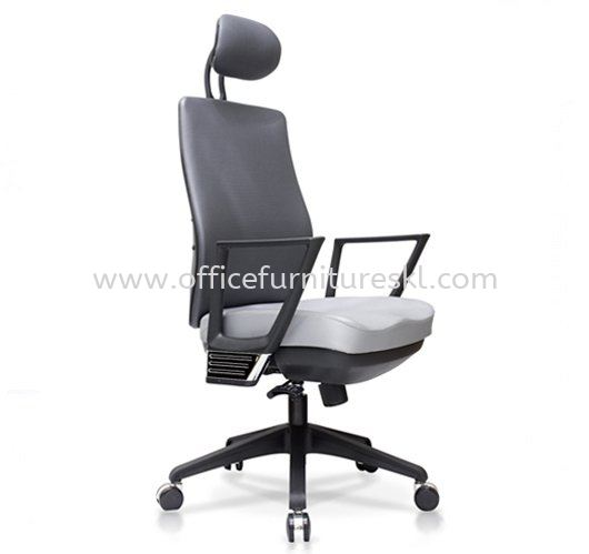 AMPLO EXECUTIVE HIGH BACK FABRIC CHAIR C/W NYLON ROCKET BASE ACL 499(A)