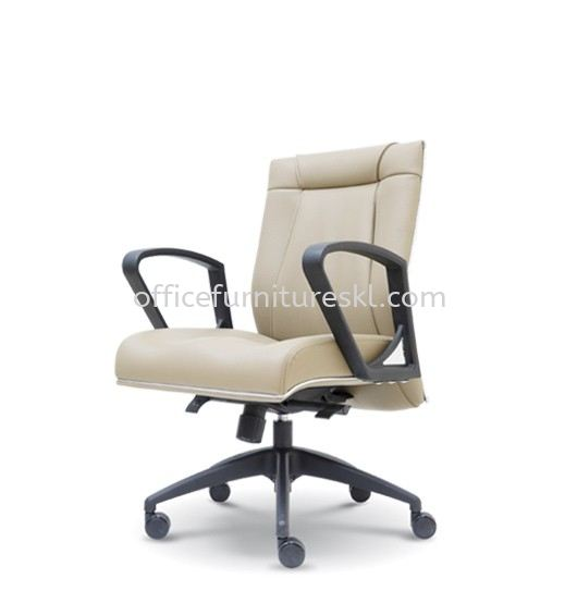 HARPERS EXECUTIVE LOW BACK LEATHER CHAIR C/W ROCKET NYLON BASE