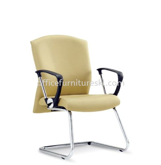 BROCUS EXECUTIVE VISITOR LEATHER CHAIR C/W CHROME CANTILEVER BASE