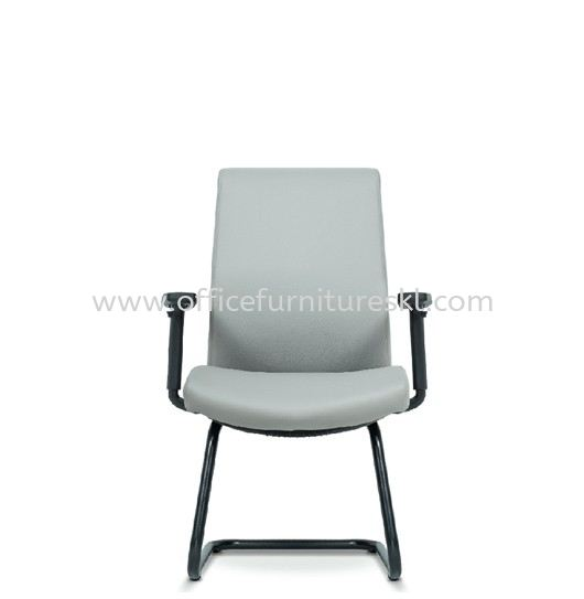 DARQUE EXECUTIVE VISITOR BACK LEATHER CHAIR C/W EPOXY BLACK CANTILEVER BASE