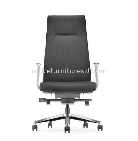 PREMIUM DIRECTOR HIGH BACK LEATHER OFFICE CHAIR WITH ALUMINIUM BASE AND POLISHED ARMREST