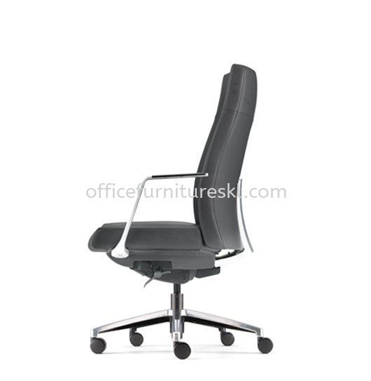 PREMIUM DIRECTOR MEDIUM BACK LEATHER CHAIR WITH ALUMINIUM BASE AND POLISHED ARMREST ASPM 6311L-18S