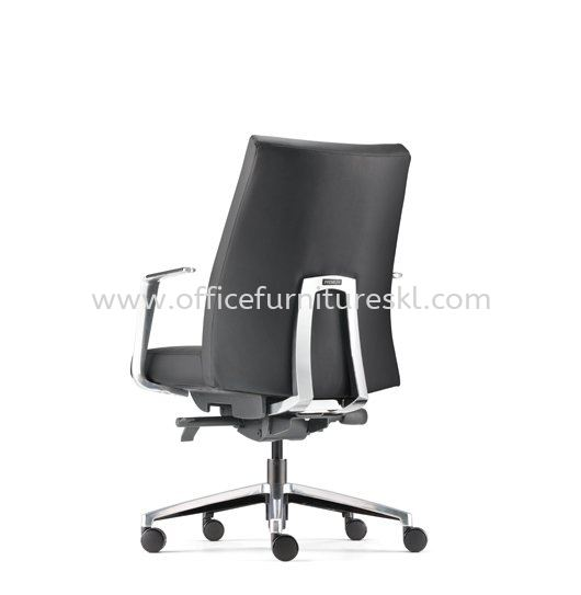 PREMIUM DIRECTOR LOW BACK LEATHER OFFICE CHAIR WITH ALUMINIUM BASE AND POLISHED ARMREST-director office chair setia alam | director office chair bukit raja | director office chair pudu